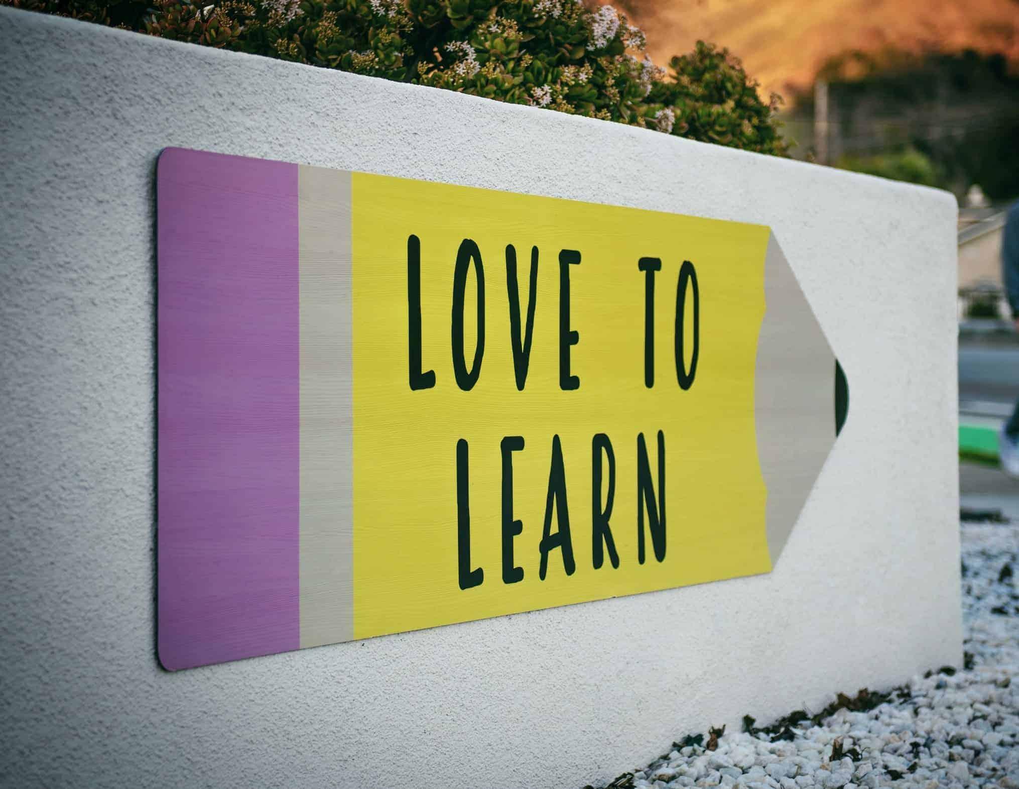 """Stift gemalt auf Mauer mit der Aufschrift """"LOVE TO LEARN"""""""