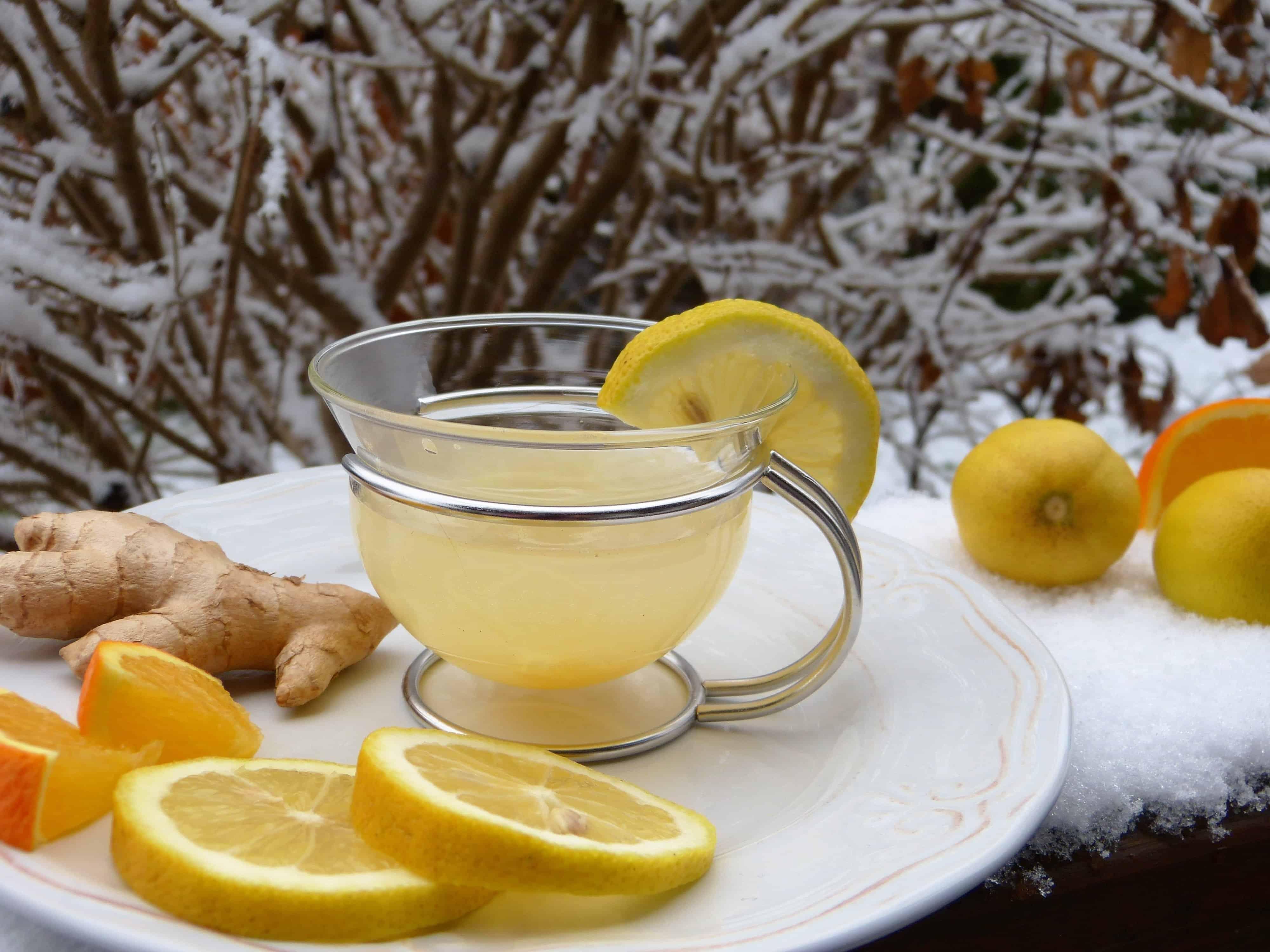 Heiße Zitrone im Winter